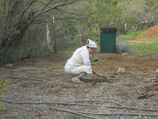 Sue Planting the Garden