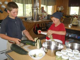 Neighbor Children Helping Grate Zucchini