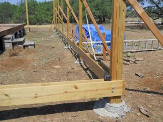 Porch Joist Braces in Place