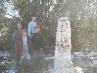 Neighbor Children & Their Snowman
